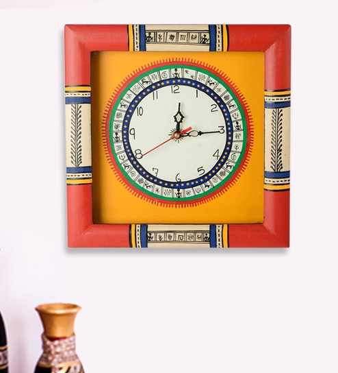 Buy Multicolor Wood Wall Clock by ExclusiveLane Online Indian