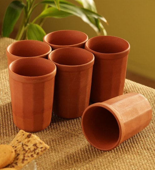 Stoneware 250 ML Cups - Set of 6 by ExclusiveLane