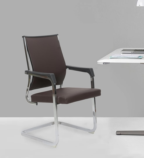 Executive Mid Back Visitor Chair With Metal Frame In Brown Color By Star India
