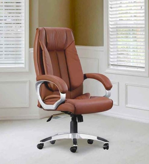 buy high back executive chair in brown colour by adiko systems