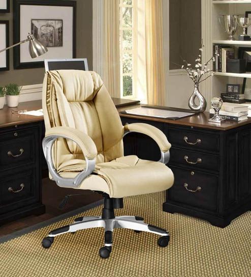 Executive Medium Back Office Chair in Cream Colour by Adiko Systems & Buy Executive Medium Back Office Chair in Cream Colour by Adiko ...