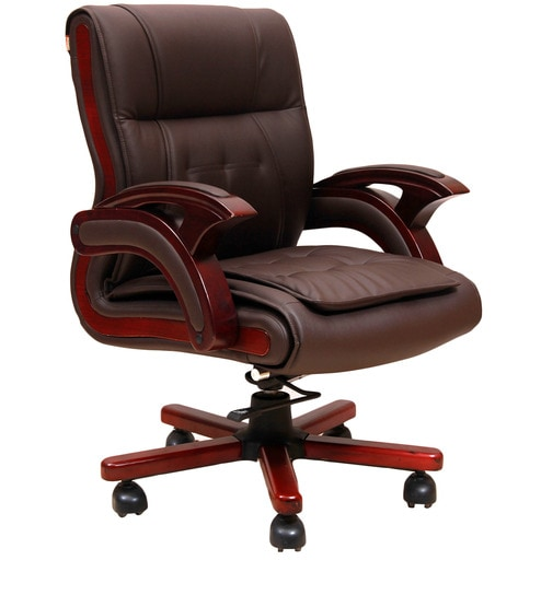buy executive mid back chair in brown colour by geeken online