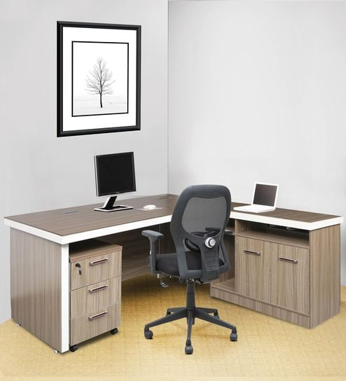 Executive Office Desk With Side Runner Drawer Cart In Pine Colour Melamine Finish By Star