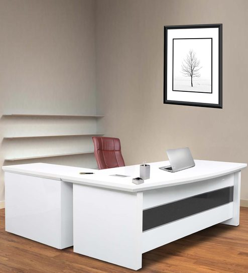 Executive Office Desk With Side Runner Drawer Cart In White Colour Deco Paint Finish By