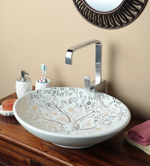 Exor 1981 Laser Printing Ceramic Table Top Designer Wash Basin
