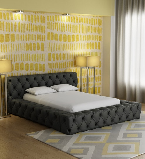 Exquisite Upholstered Dias King Size Bed In Dark Grey Colour By Dreamzz Furniture Online Modern Sized Beds Pepperfry Product