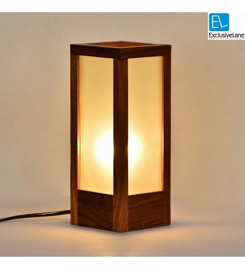 Buy Frosted Brown Sheesham Wood Amp Glass Table Lamp By