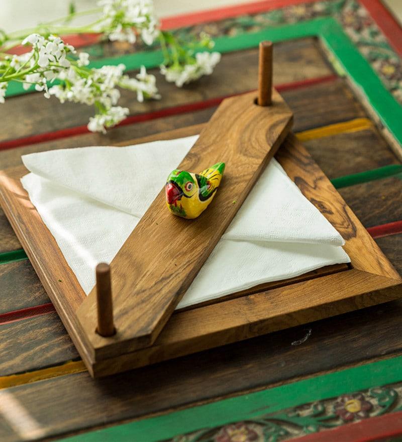Exclusivelane Bird Multicolour Wood Napkin Holder