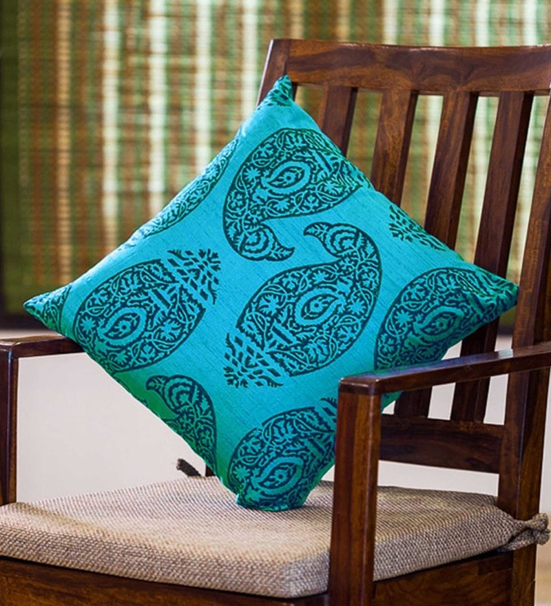 Exclusivelane Blue Silk 16 x 16 Inch Handblock Printed Cushion Cover