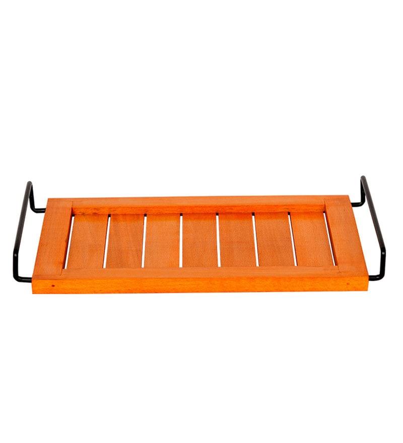 ExclusiveLane Bright Orange Steam Beech Wood & Metal Tray