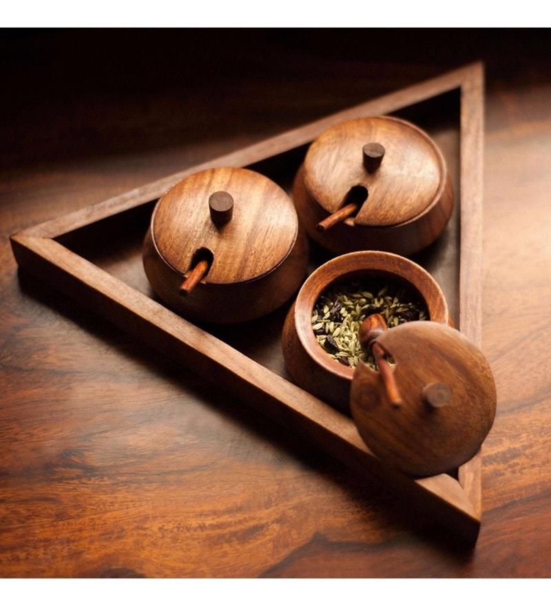 ExclusiveLane Brown Cylindrical 50 ML Jar Set with Sheesham Wood Triangular Tray & Spoon - Set of 3