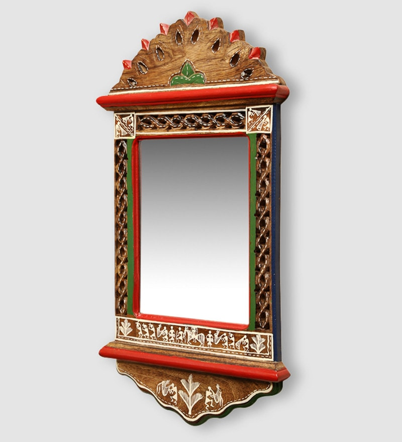 Brown Mango Wood Ethnic Warli Art Wall Mirror by ExclusiveLane