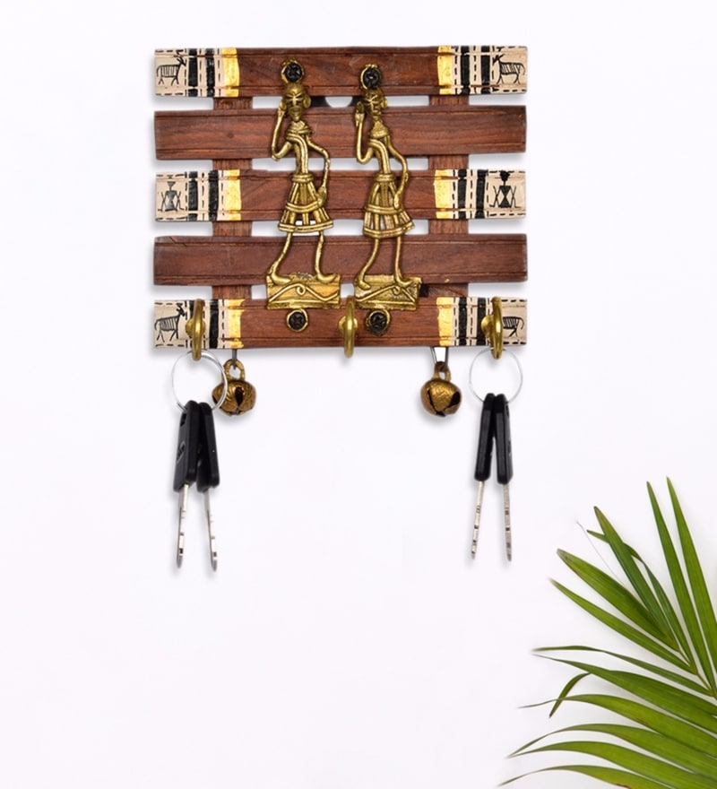 Exclusivelane Brown Sheesham Wood & Brass Dhokra & Warli Hand Painted Key Holder with Ghungroo
