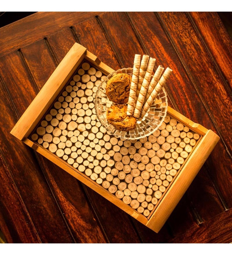 Exclusivelane Brown Steam Beech Wood Cut Pieces Serving Tray