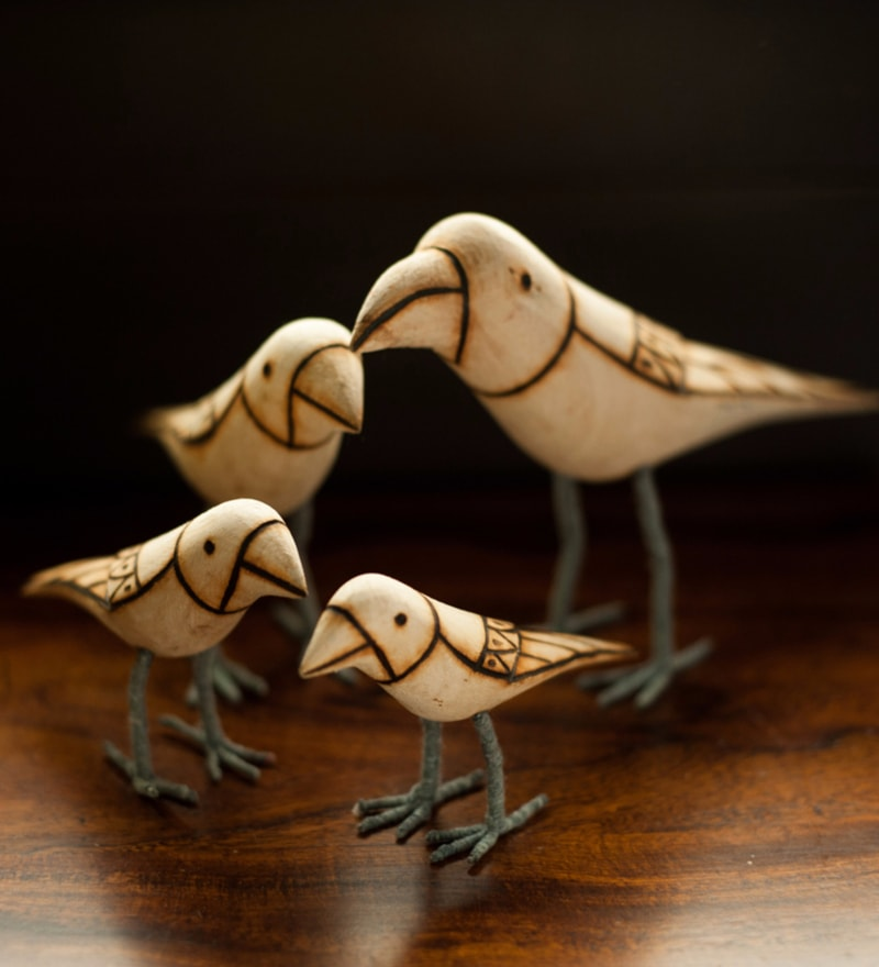 Brown Wood Handmade & Hand Painted Bird Family Showpiece - Set of 4 by ExclusiveLane
