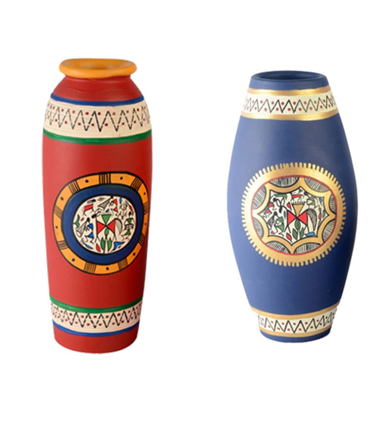 Blue Terracotta Hand Painted Vase - Set of 2 by ExclusiveLane