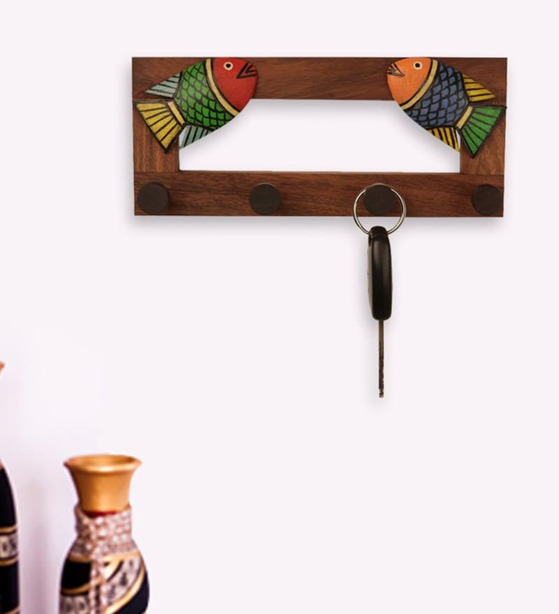 Exclusivelane Multicolour Sheesham Wood & MDF Fish Key Holder
