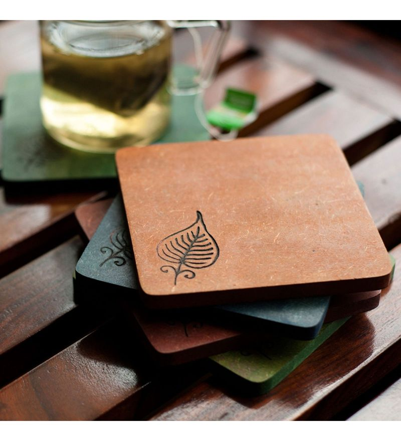 ExclusiveLane Elegant Leaf Engraved Multicolour Recycled Wood Coasters - Set of 5