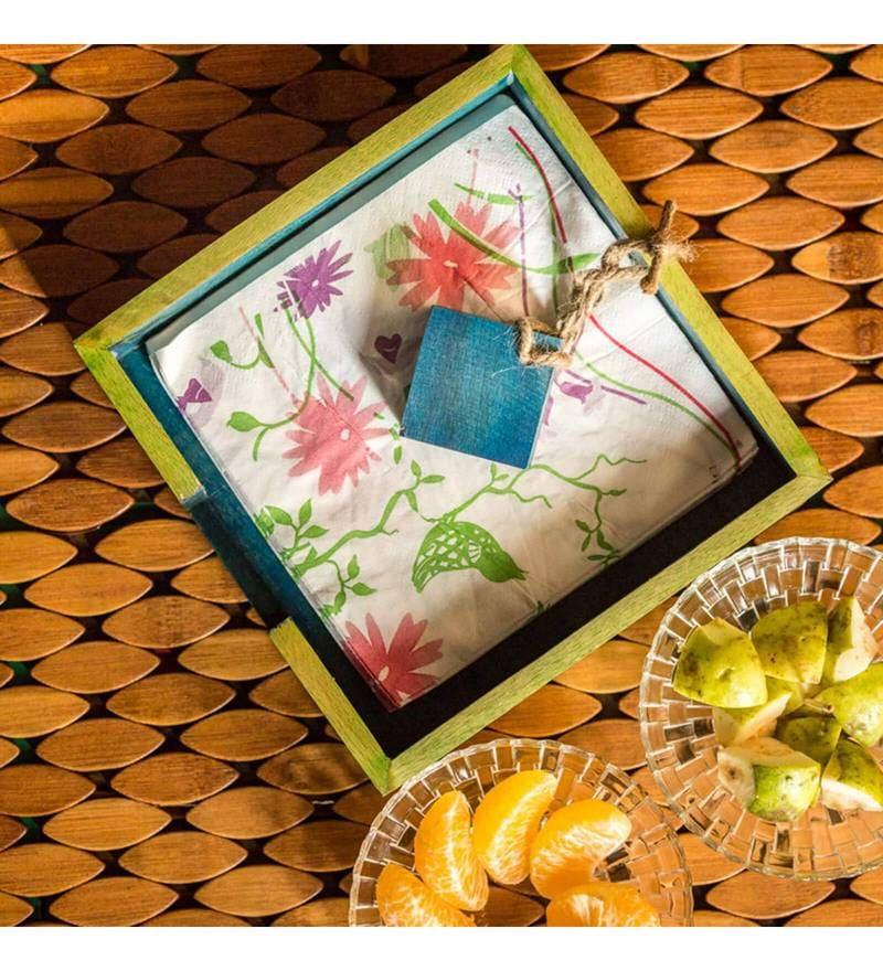 ExclusiveLane Floral Leaf Design Multicolour Steam Beech Wood Napkin Holder