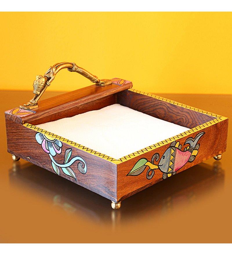 ExclusiveLane Handpainted Madhubani Art Multicolour Sheesham Wood & Brass Napkin Holder