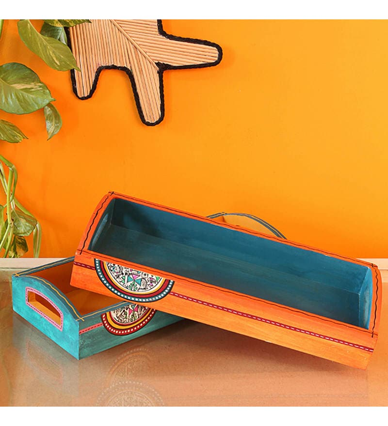 ExclusiveLane Handpainted Warli Sunset Orange & Ocean Blue Pine Wood Trays - Set of 2