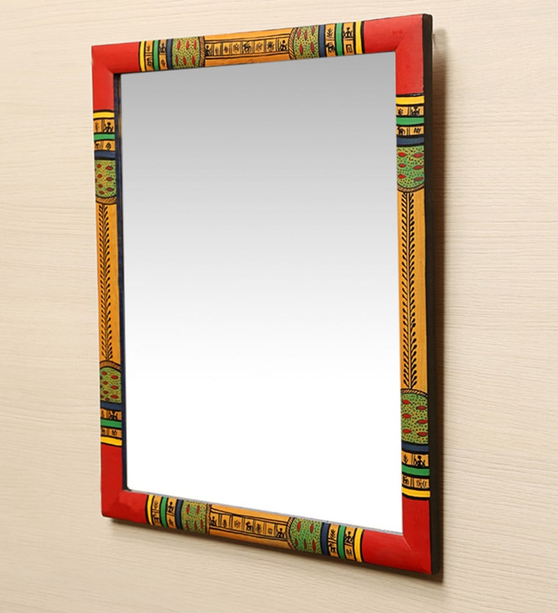 Multicolour Pine Wood Ethnic Warli Art Wall Mirror by ExclusiveLane