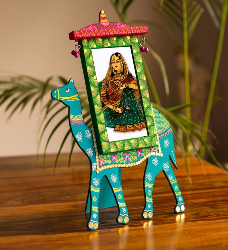Multicolour Recycled Wood 9 x 0.5 x 12.2 Inch Hand Painted Camel Photo Frame by ExclusiveLane