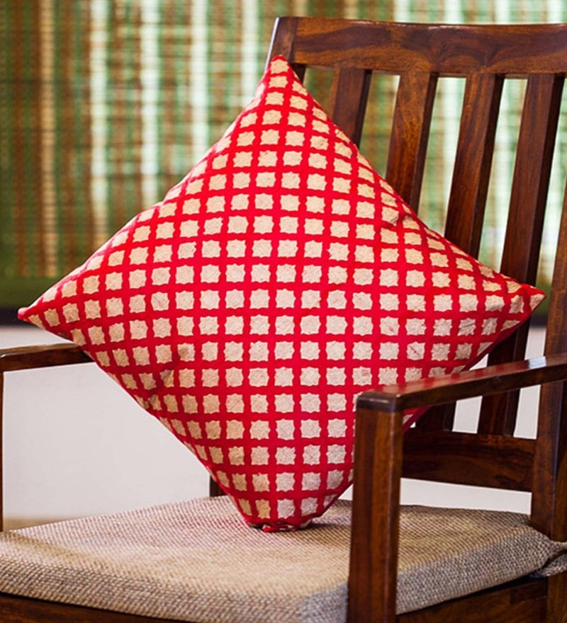 Exclusivelane Red & Golden Silk 16 x 16 Inch Handblock Printed Cushion Cover