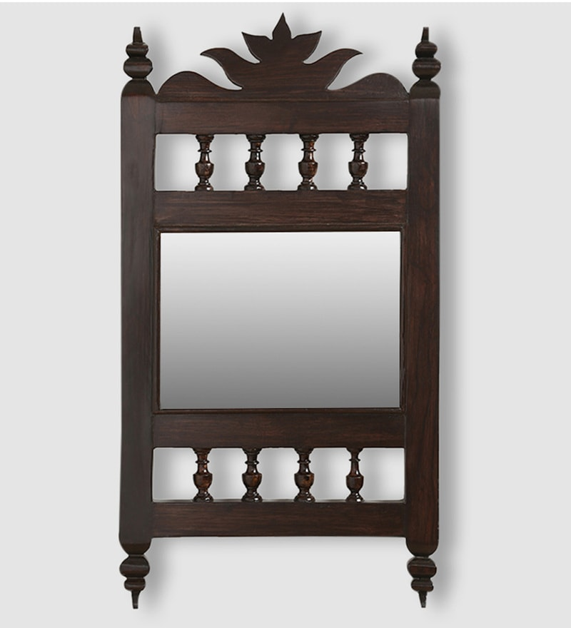 Walnut Teak Wood Maharaja Handcrafted Wall Mirror by ExclusiveLane