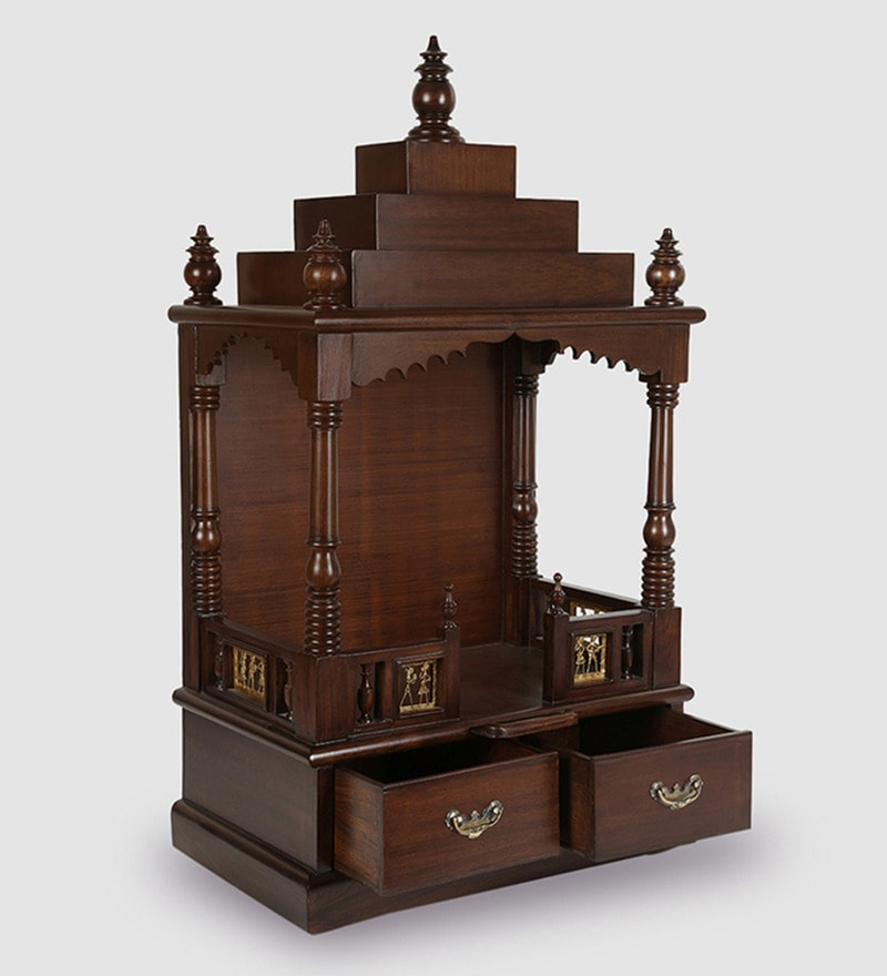 Buy Solid Wood Hand Made Pooja Mandir In Walnut Finish By