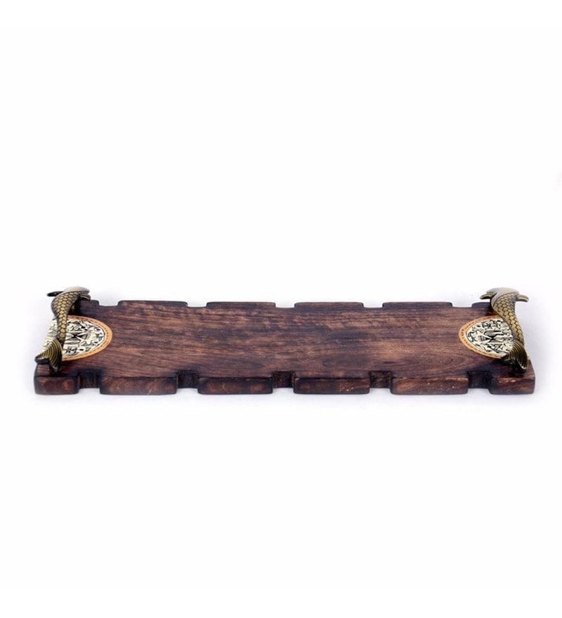 Exclusivelane Warli Handpainting Brown Brass & Mango Wood Table Runner Tray