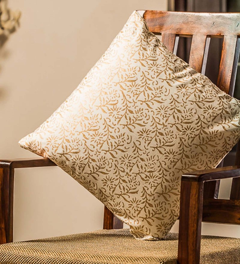 Exclusivelane White & Gold 100% Cotton 16 x 16 Inch Bliss Wooden Handblocked Cushion Cover