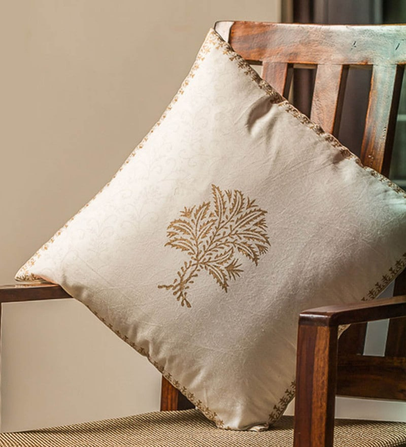 Exclusivelane White & Gold 100% Cotton 16 x 16 Inch Sapling Wooden Handblocked Cushion Cover