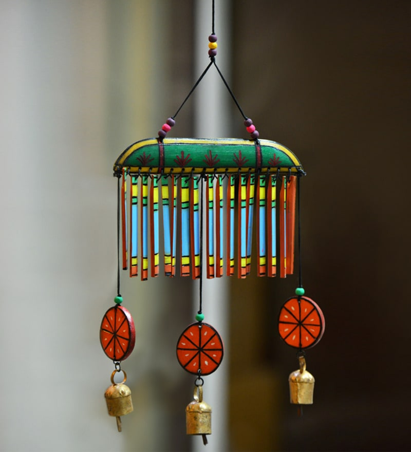 Multicolored Wooden Hand-painted Hanging Chime by ExclusiveLane
