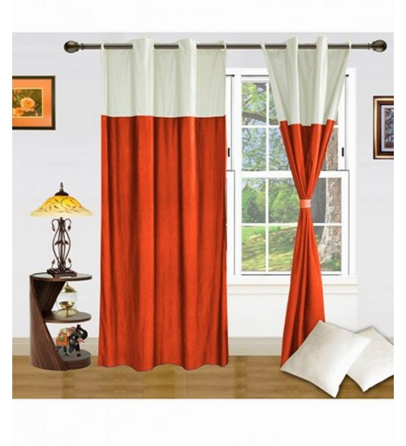 Orange Polyester 84 x 48 Inch Floral Eyelet Door Curtain - Set of 2 by Exporthub