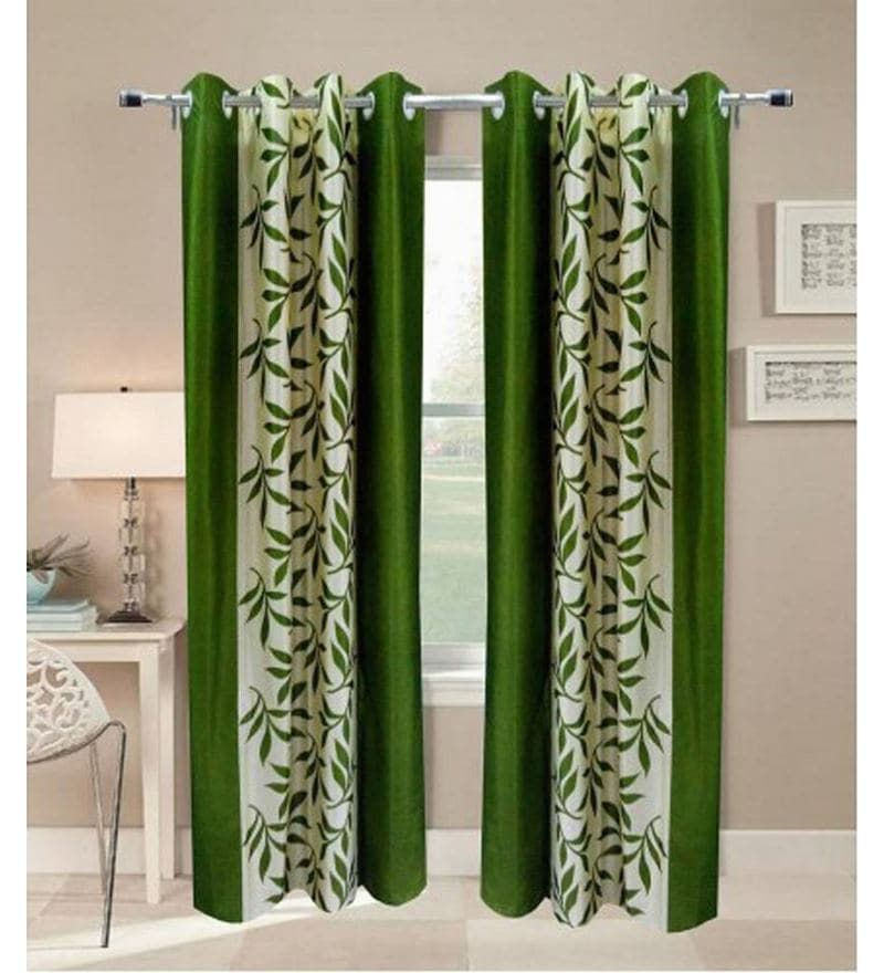 Green Polyester 84 x 48 Inch Floral Eyelet Door Curtain - Set of 2 by Exporthub