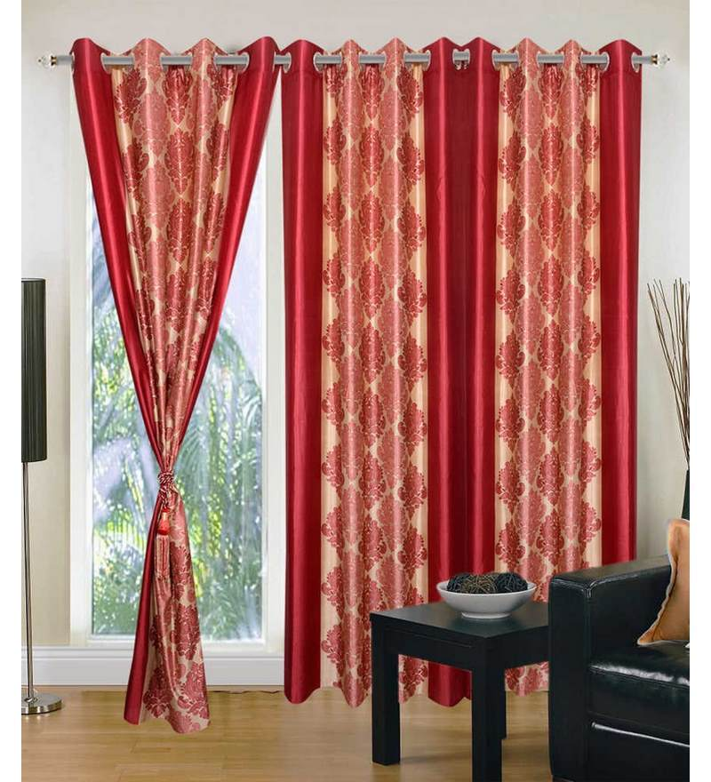 Multicolour Polyester 84 x 48 Inch Ethnic Eyelet Door Curtain - Set of 3 by Exporthub