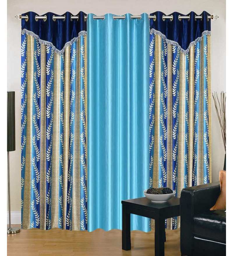 Multicolour Polyester 84 x 48 Inch Floral Eyelet Door Curtain - Set of 3 by Exporthub