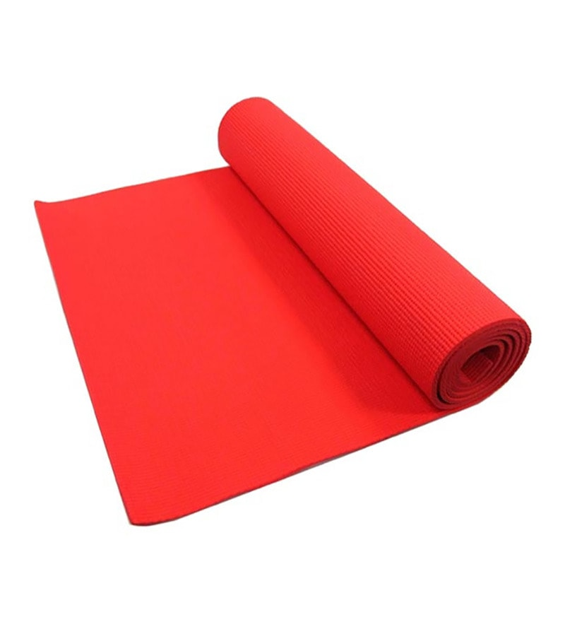 Red PVC 71 x 23 Inch Premium Yoga Mat by Exporthub