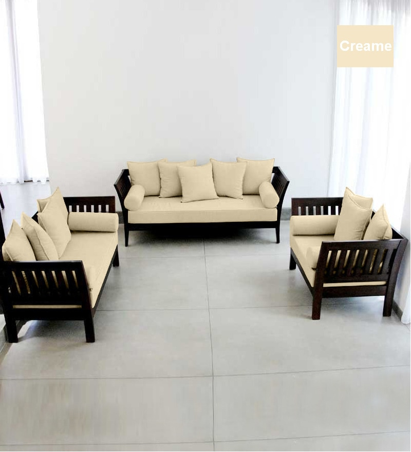 Modern Wooden Sofa: Extra Spacious Wooden Sofa Set (3+2+1 Seater) By Furny