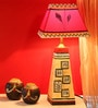 Beige & Red Polyvinyl & Mango Wood Lamp by ExclusiveLane