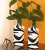 Black & White Glass Warli Art Hand Painted Vase - Set of 2 by ExclusiveLane