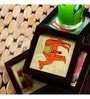 Exclusivelane Canvas Multicolour MDF Coasters - Set of 4