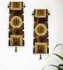 Brown Mango Wood & Brass Dhokra & Warli Wall Hanging - Set of 2 by ExclusiveLane