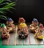 Exclusivelane Multicolour Terracotta Musical Ganesha Idol - Set of 6