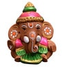 ExclusiveLane Brown Terracotta Hand Painted Car Baby Ganesha Idol