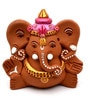 ExclusiveLane Brown Terracotta Hand Painted Sitting Ganesha Idol
