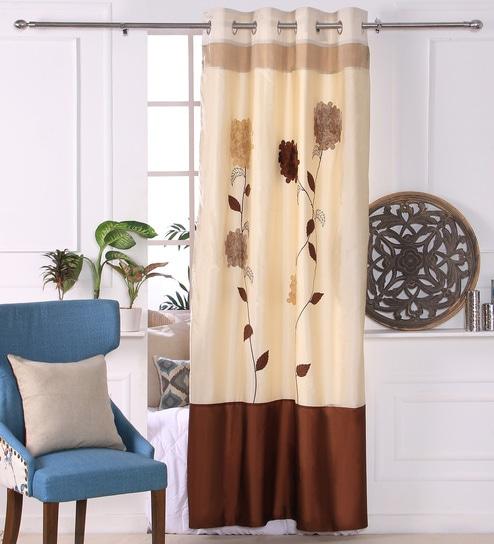 Curtains Ideas 115 inch curtains : Buy Eyda Ivory Polyester 53 x 84 Inch 3D Flower Door Curtains ...