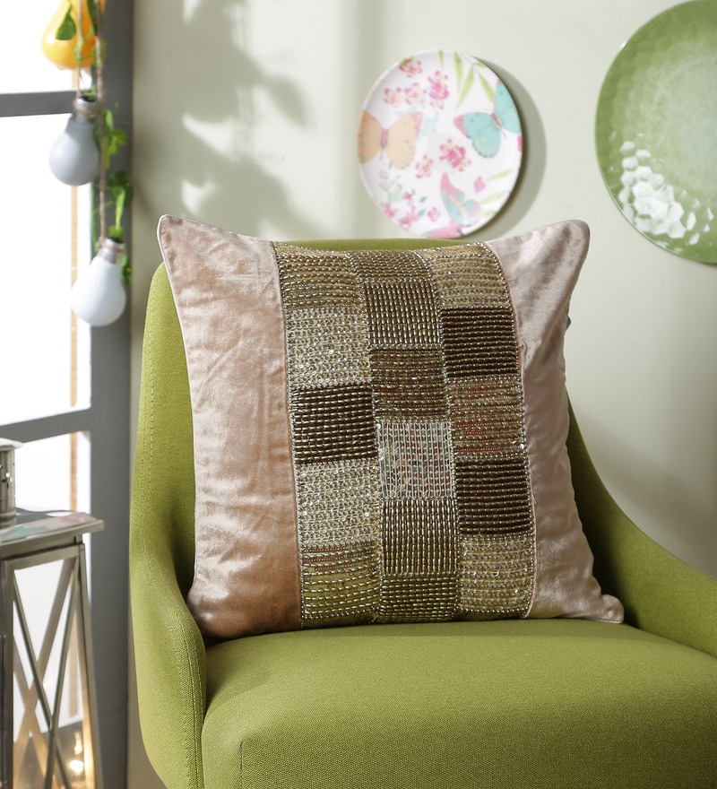 Gold Polyester 16 x 16 Inch Multi Sequin Velvet Cushion Cover by Eyda