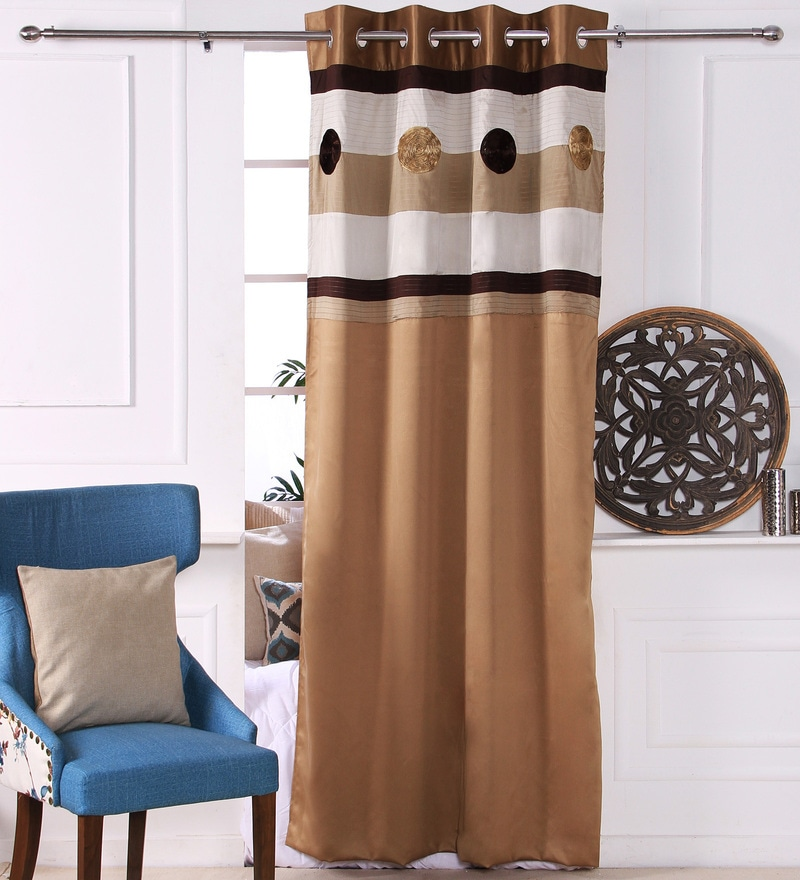 Gold Polyester 53 x 84 Inch Ribbon Circle Black Out Door Curtains - Set of 2 by Eyda